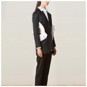 Jackets & Blazers - 🆕 Black & White Ruffle Open Cut Out Side Jacket